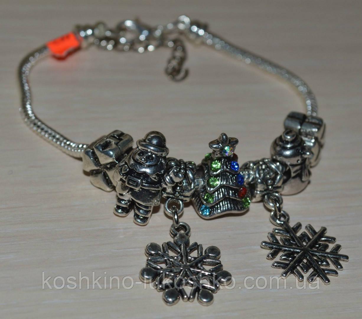 браслет Новорічний з намистинами в стилі Пандора.