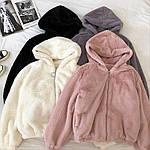 Женская куртка, эко-мех кролика, р-р универсальный 42-46 (молоко), фото 2
