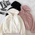 Женская куртка, эко-мех кролика, р-р универсальный 42-46 (молоко), фото 3