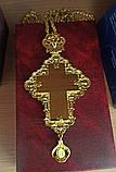 Наперсный крест для священника с красными и белыми камнями, фото 4