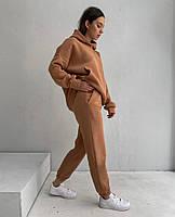 Женский теплый спортивный костюм на флисе с объемной кофтой с капюшоном (Норма), фото 2
