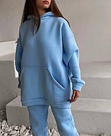 Женский теплый спортивный костюм на флисе с объемной кофтой с капюшоном (Норма), фото 5