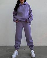 Женский теплый спортивный костюм на флисе с объемной кофтой с капюшоном (Норма), фото 6
