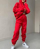 Женский теплый спортивный костюм на флисе с объемной кофтой с капюшоном (Норма), фото 9