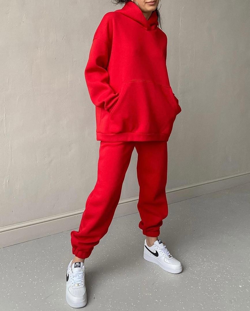 Женский теплый спортивный костюм на флисе с объемной кофтой с капюшоном (Норма)