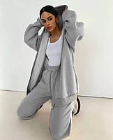 Женский спортивный костюм из трехнити на флисе с удлиненной кофтой на флисе (Норма), фото 2