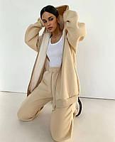 Женский спортивный костюм из трехнити на флисе с удлиненной кофтой на флисе (Норма), фото 6