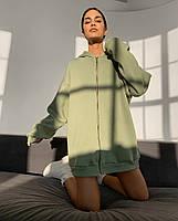 Женский спортивный костюм из трехнити на флисе с удлиненной кофтой на флисе (Норма), фото 7