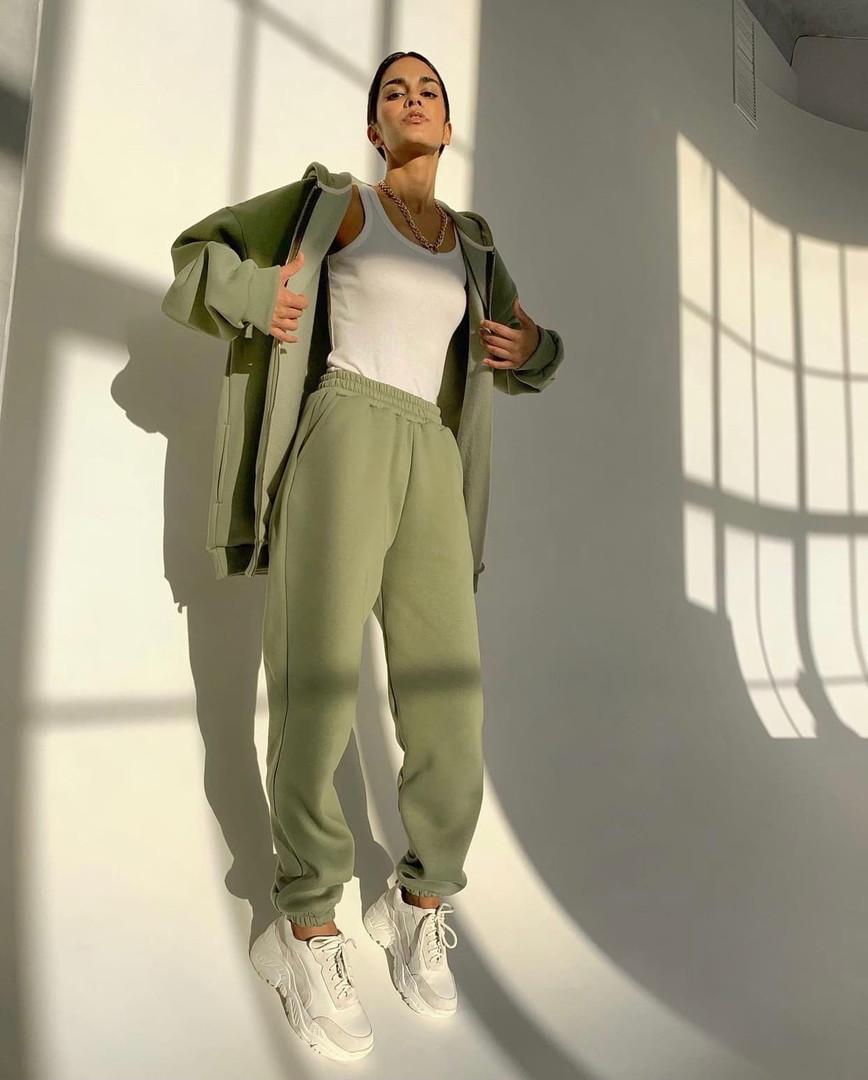 Женский спортивный костюм из трехнити на флисе с удлиненной кофтой на флисе (Норма)