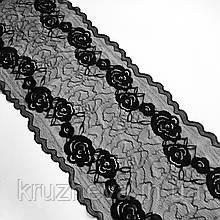 Стрейчевое (еластичне) мереживо чорного кольору шириною 22 див.
