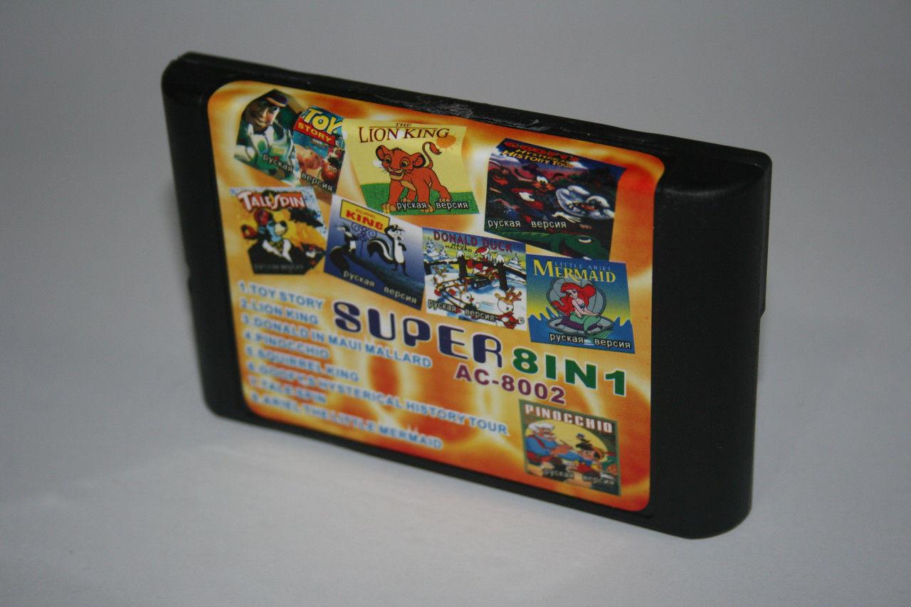 Картридж для Sega сборник 8в1 Мультяшные игры