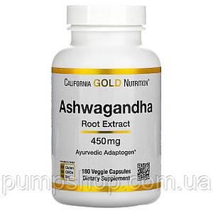 Экстракт корня ашвагандха California Gold Nutrition Ashwagandha (витания снотворная) 450 мг 180 капс.