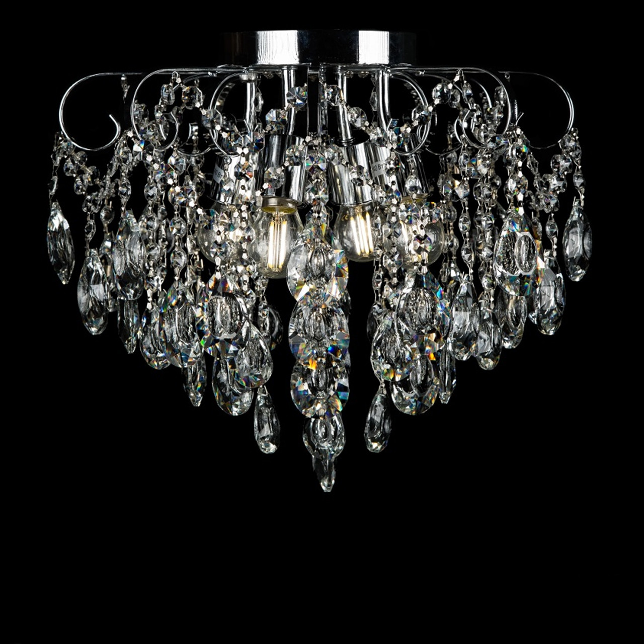 Хрустальная люстра на 4 лампы белая с хромом СветМира VL-L8651/4 (CR)
