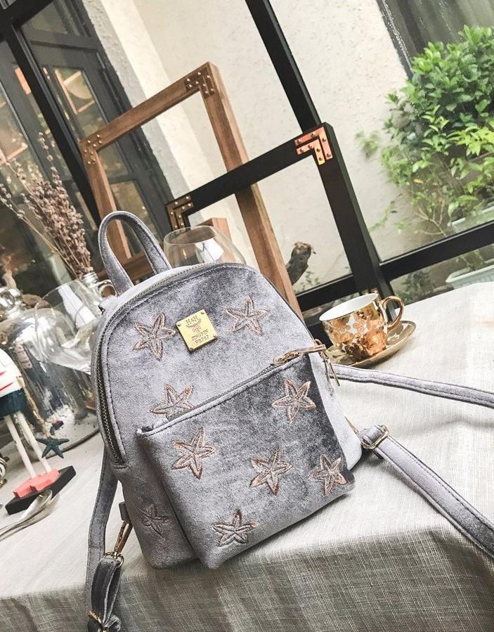 Сумка рюкзак маленький женский цвет серый