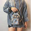 Сумка рюкзак маленький женский цвет серый, фото 2