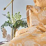 Постільна білизна Karaca Home сатин - Sadomia hardal гірчичний євро, фото 4