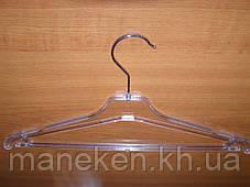 Вешалка костюмная ребристая прозрачная 40см, фото 3