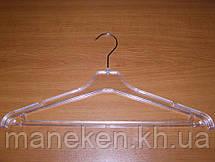 Вешалка костюмная ребристая прозрачная с блестками-глиттерами 40см, фото 3