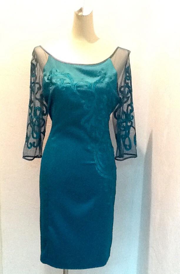 Платье женское нарядное Coaght атлас 3/4 рукав бирюза вечернее банкетное приталенное по фигуре