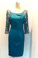 Платье женское нарядное Coaght атлас 3/4 рукав бирюза вечернее банкетное приталенное по фигуре, фото 1