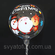 """Надувной шар Bubbles прозрачный Санта с оленем и снеговиком 20""""(51см)  Китай"""