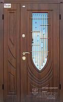 Двери входные полуторные с ковкой и стеклом ТМ Абвер модель Letizia код: код: 77 (К6)