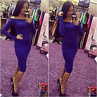 Платье женское Бархат синее , женская одежда