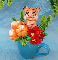 Мыло ручной работы букет з Тигр в чашке