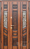 Двойные входные двери с ковкой и стеклом ТМ Абвер модель Agnia код: код: 128