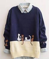 Женский свитер с котами