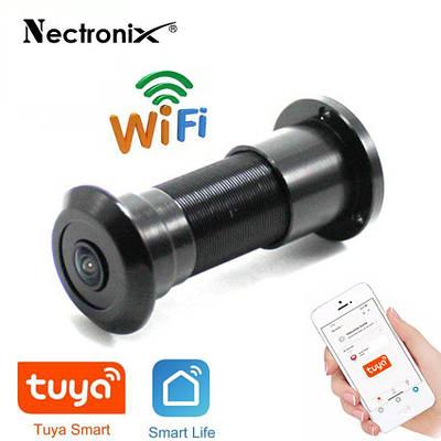 Wifi відеовічко c датчиком руху, підсвічуванням і записом Nectronix DW-305W, чорний, Tuya Smart App