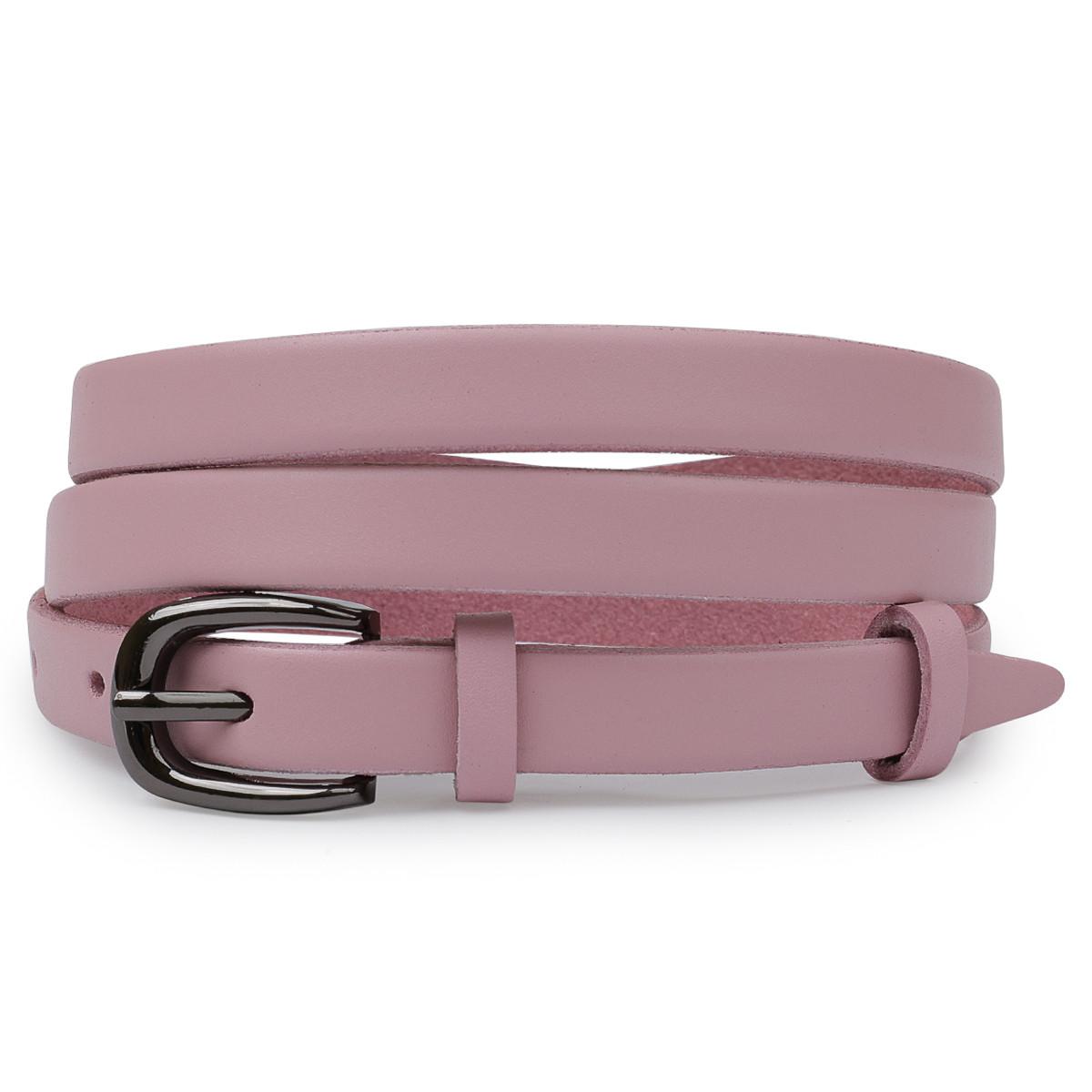 Тонкий ремінь з натуральної шкіри Vintage 20761 Рожевий