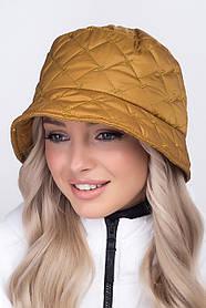 Жіноча демісезонна панама зі стьобаної плащової тканини гірчиця
