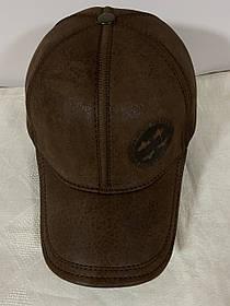 Бейсболка з натуральної шкіри чорна і коричнева 56-60