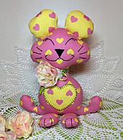 """Мягкая игрушка ручной работы """"Мышка с сердечком"""", фото 1"""