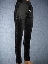 """Штаны женские """"Kenalin"""" на меху. Велюр. р. L/XL. Черные."""
