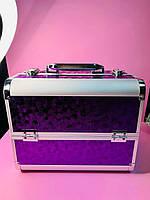 """Профессиональный кейс для косметики  """"Текстура камни"""", фиолетовый"""