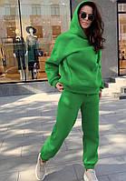 Теплый женский спортивный костюм на флисе с капюшоном в расцветках (Норма), фото 2
