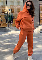 Теплый женский спортивный костюм на флисе с капюшоном в расцветках (Норма), фото 3
