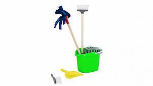 """Дитячий ігровий набір для прибирання """"Чистюля"""" 416OR відро з віджимом (Салатовий)"""