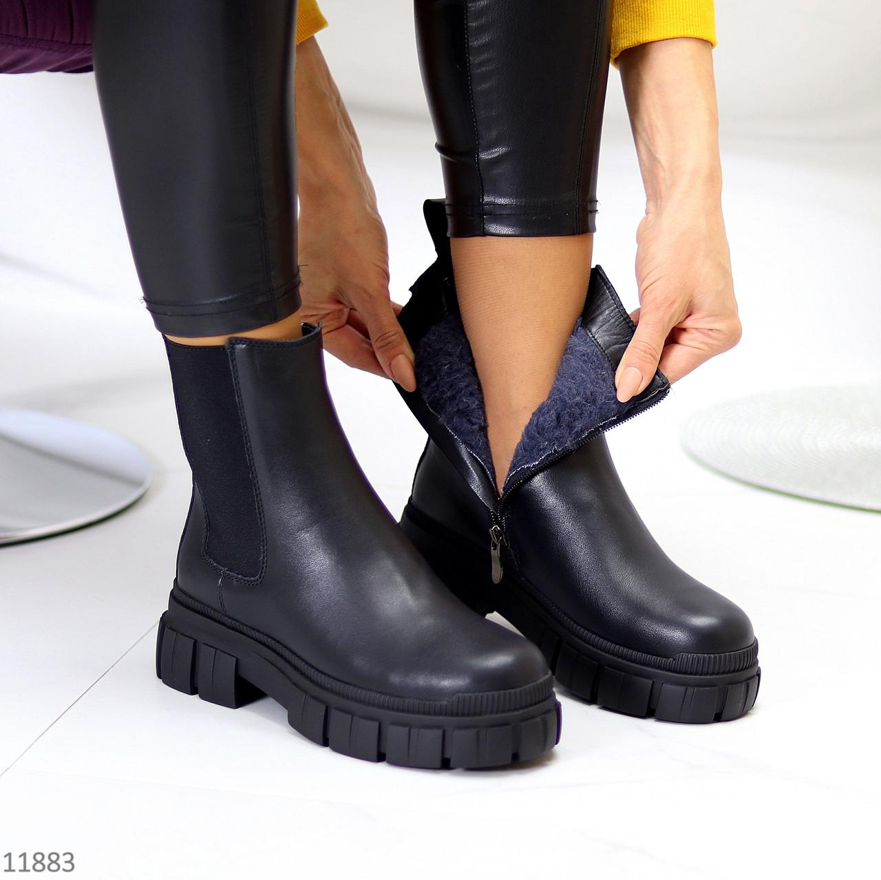 Натуральная кожа удобные черные зимние кожаные женские ботинки челси внутри шерсть