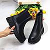 Натуральная кожа удобные черные зимние кожаные женские ботинки челси внутри шерсть, фото 8