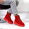 Яскраві червоні замшеві жіночі зимові черевики блискавка+шнурівка низький хід, фото 2