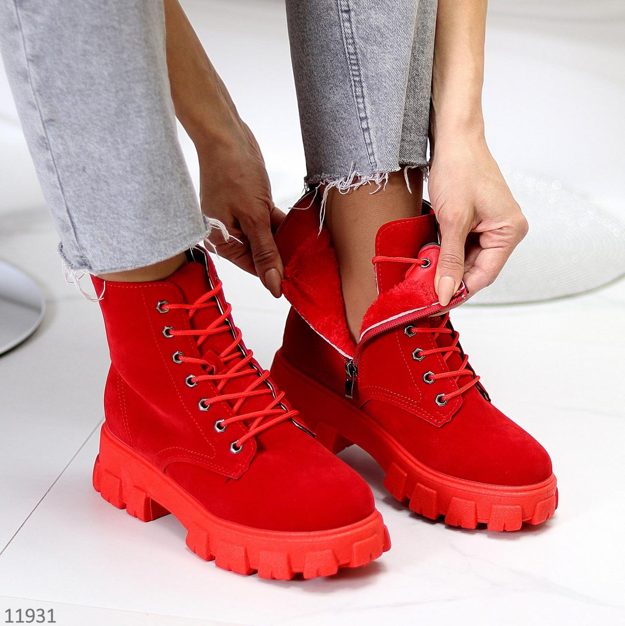 Яскраві червоні замшеві жіночі зимові черевики блискавка+шнурівка низький хід