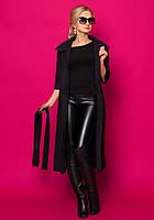 Женское пальто-кардиган черного цвета с рукавом три четверти, под пояс.