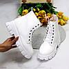 Молодежные белые женские зимние ботинки молния+шнуровка низкий ход, фото 2