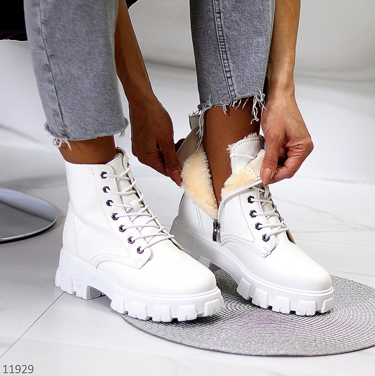 Молодежные белые женские зимние ботинки молния+шнуровка низкий ход