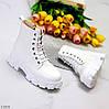 Молодежные белые женские зимние ботинки молния+шнуровка низкий ход, фото 8