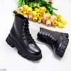 Молодежные черные женские зимние ботинки молния+шнуровка низкий ход, фото 8