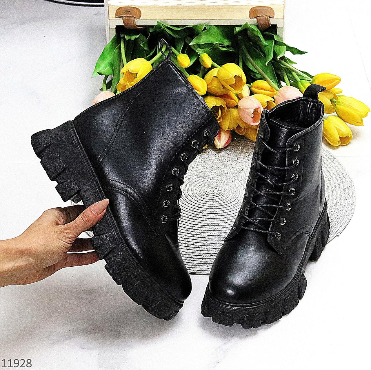 Молодежные черные женские зимние ботинки молния+шнуровка низкий ход